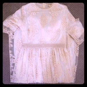 Vintage Style Cream Ivory Embroidered Lace Dress